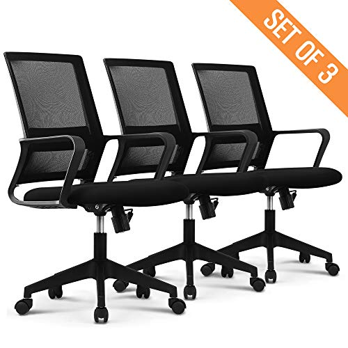 NEO CHAIR Office Chair Computer Desk Chair Gaming Bulk Business Ergonomic Mid Back Cushion Lumbar Support Wheels Comfortable Black Grey Mesh Racing Seat Adjustable Swivel Rolling Executive