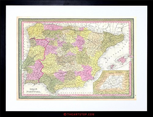 MAP 1850 MITCHELL SPAIN PORTUGAL VINTAGE FRAMED PRINT F97X2011 by The Art Stop