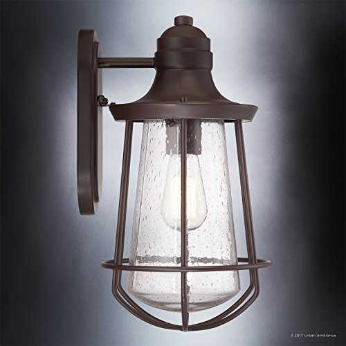 Luxury Vintage Outdoor Wall Light, Medium Size: 15''H x 8.5''W, with Nautical Style Elements, Cage Design, Estate Bronze Finish and Seeded Glass, Includes Edison Bulb, UQL1121 by Urban Ambiance by Urban Ambiance (Image #3)