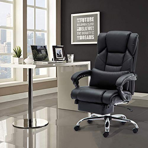 KADIRYA Reclining Leather Office Chair - High Back Executive Chair with Adjustable Angle Recline Locking System and Footrest, Thick Padding for Comfort and Ergonomic Design for Lumbar Support-Black by KADIRYA (Image #6)