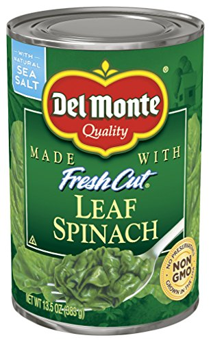 Del Monte Spinach - Del Monte Canned Fresh Cut Leaf Spinach, 13.5-Ounce