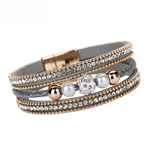 Multilayer Leather Wrap Charm Bracelet Cuekondy Crystal Beaded Magnetic Wristband Bangle Jewelry for Women Girls Teen (Gray)