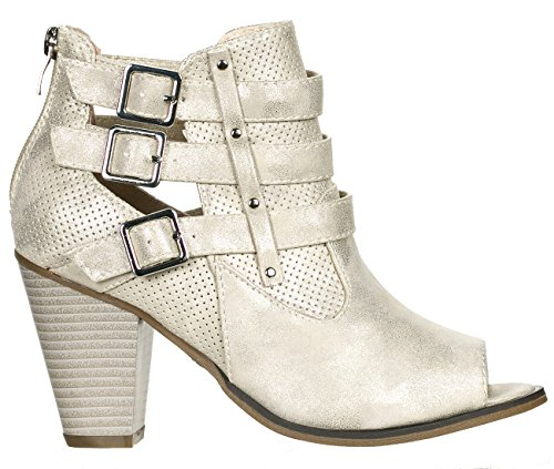 Forever Women's Buckle Strap Block Heel Ankle Booties Champagne Peep