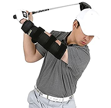 WEIGHTED ELBOW BRACE Shoulder Turn Straight ARM Golf Swing Trainer Increasing The Moment of Inertia Force Rigid, US Patented