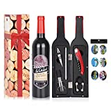 Wine Accessory Gift Set - Deluxe Wine Bottle Corkscrew Opener, Stopper, Aerator Pourer, Foil Cutter, Glass Paint Marker w/Reusable Drink Stickers in Gift Box, Wine Gifts for Wine Lover