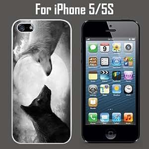 Black White Wolf Moon Custom Case/ Cover/Skin *NEW* Case for Apple iPhone 5/5S - White - Rubber Case (Ships from CA) Custom Protective Case , Design Case-ATT Verizon T-mobile Sprint ,Friendly Packaging - Slim Case hjbrhga1544