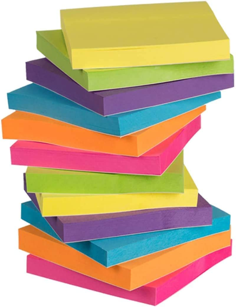 Ready Office Color Sticky Notes (24-Pads) 100 Sheets Each | Small 3x3 Squares with Self-Stick Adhesive Backing | Home, Classroom, Office | Personal Message & Appointment Organizers (24)
