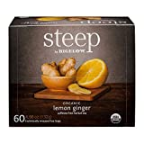 Steep by Bigelow organic lemon ginger caffeine free herbal tea 60 count (4.66 ounces, 132 grams)