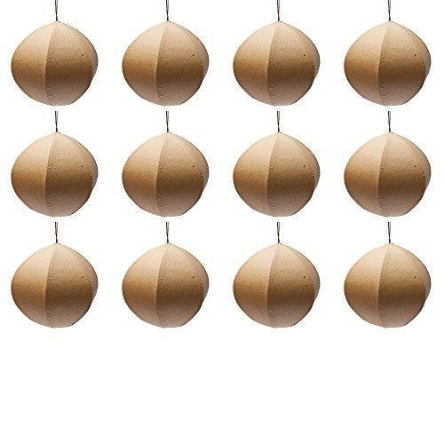 Papier Mache Christmas Ornaments - Unfinished Paper Mache Hanging Ornaments - 12 Ornaments