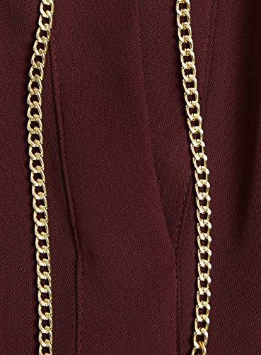 oodji Collection Mujer Blusa de Tejido Fluido con Decoración Metálica Marrón (4900N)