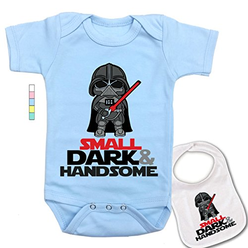 babybytes Small Dark & Handsome -Cute Darth Vader Star Wars Baby Bodysuit Onesie & Bib Set