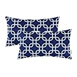 Pack of 2 CaliTime Bolster Pillow Covers 12 X 20 Inches, Modern Squares Chain Geometric, Navy Blue