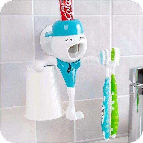 Kasstino Automatic Toothpaste Dispenser Bathroom Toothbrush Holder & Cup Gift For Kids (Color Randomly) KS0112