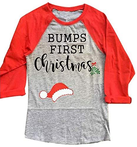Women Bumps First Christmas Print 3/4 Sleeve T-Shirt Cute Santa Hat Raglan Tees Size L (Red) (Baby Bump Christmas Shirt First)