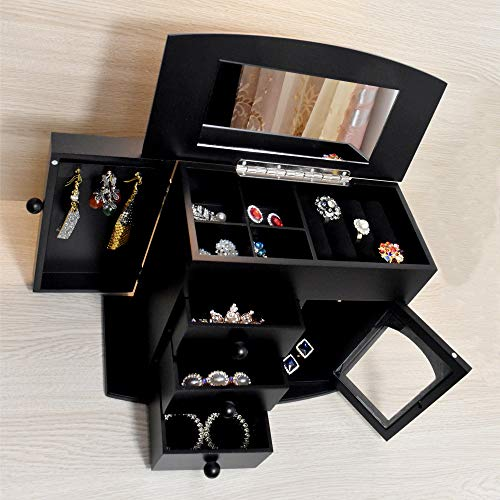 iHotools Wooden Jewelry Box Built-in Mirror Ring Earring Necklace Organizer Storage Case Black