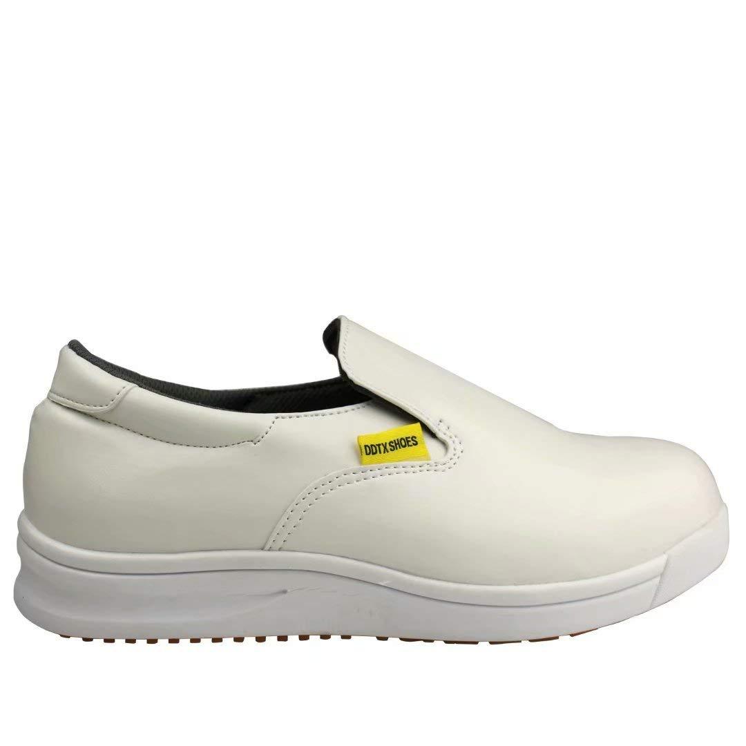 DDTX Zapatos de Cocina Unisex SRC Antiresbalones Resistentes al Aceite Ligeros Blancos 37-47EU