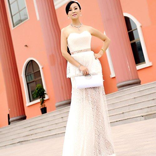 Bolso Hombro Mano con Cadena Bolso de Moda Adornado con Brillantes Cristales Artificiales Billetera de Color Blanco