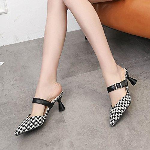 6cm zapatos Zapatillas Ajunr Zapatillas 35 áspero Talón elegante de Sandalias Transpirable Rejillas 36 Baotou tacón Moda Negro La XxqIHqB