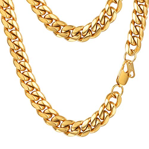 Cuban Link Chain Men Necklace 18k Gold Plated 10MM Wide Curb Chain Hip-hop  Rapper 138e445ee4c