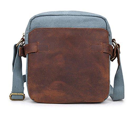 Izacu Flocc-BUG Lona bolso mensajero bolsa para hombre bolso de escuela (22*7*25cm, apricot) blue