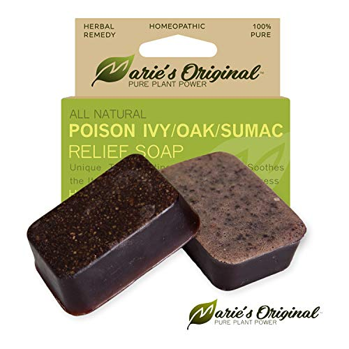(Marie's Original Poison Ivy Soap Bar – 100% All Natural Triple Acting Formula – Anti Itch Treatment for Poison Ivy, Poison Oak and Sumac – Removes Oils, Soothes and Relives Rashes - 2.9oz)