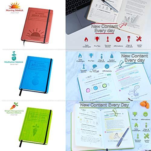 Bundle: 1x Red Morning Sidekick Journal, 1x Green Fat Loss & Nutrition Sidekick Journal, 1x Blue Meditation Sidekick Journal & 1 Gray Weightlifting Gym Buddy Journal by Habit Nest (Image #1)