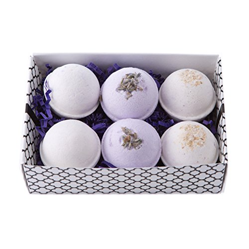 Bath Bomb Gift Set w/ Vanilla, Lavender and Oatmeal, Milk  Honey Scented Fizzies Bath Balls | Set of 6, Handmade in USA From Melrose Soaps