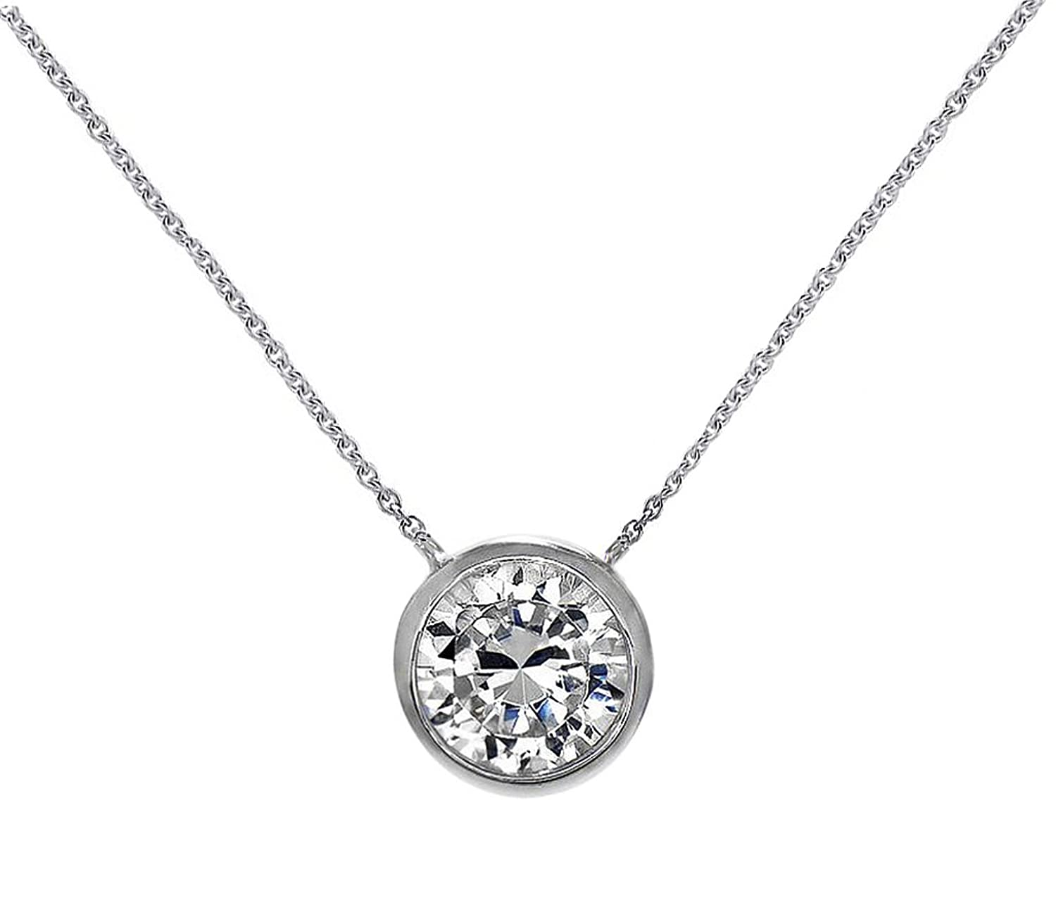 Amazon solitaire pendant necklace 925 sterling silver round amazon solitaire pendant necklace 925 sterling silver round 6mm cz bezel set 16 18 free box tiffany co jewelry aloadofball