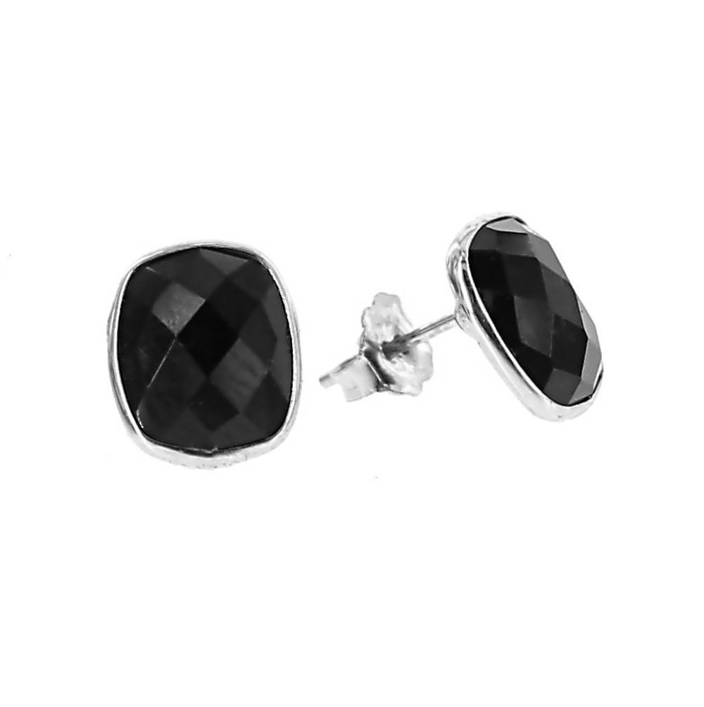 14K White Gold Stud Earrings With Cushion Cut Black Onyx Gemstones