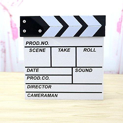 "Professional Black & White TV Film Clapper Board Slate(White,7.9"" X 7.9"")"