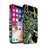 STUFF4 Matte Hard Back Snap-On Phone Case for Apple iPhone X/10 / Green/White Design / Henna Paisley Flower Collection