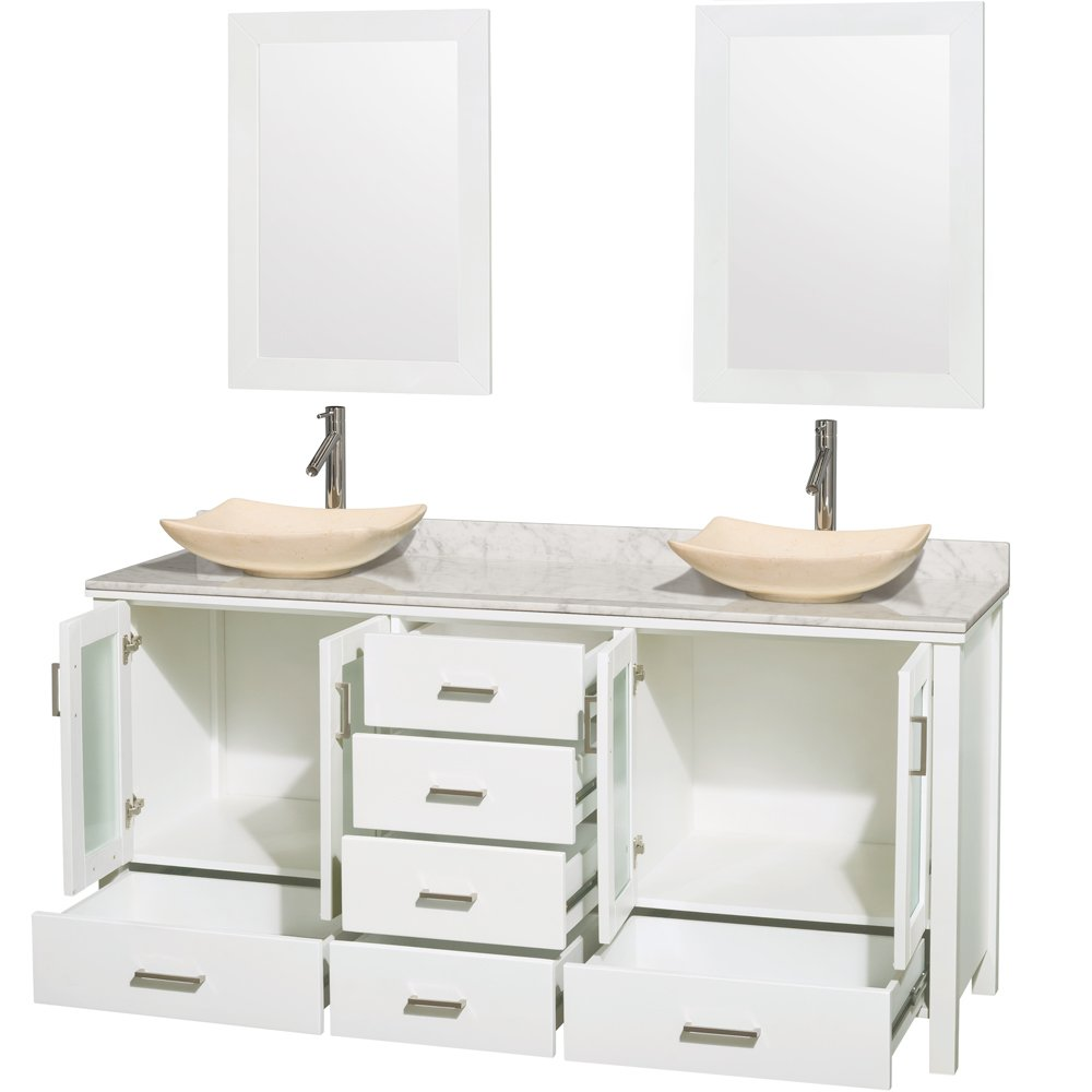 Wyndham Collection Lucy 72 inch Double Bathroom Vanity in White and 24 inch Mirrors White Carrara Marble Countertop Undermount Square White Porcelain Sinks