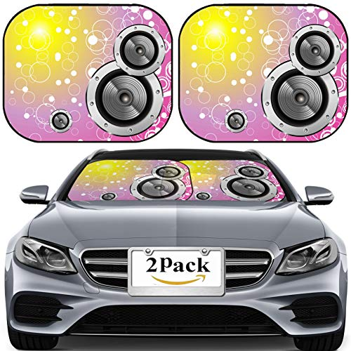 - MSD Car Sun Shade for Windshield Universal Fit 2 Pack Sunshade, Block Sun Glare, UV and Heat, Protect Car Interior, Bubbles Fantasy Colorful Music Background Photo 4896889