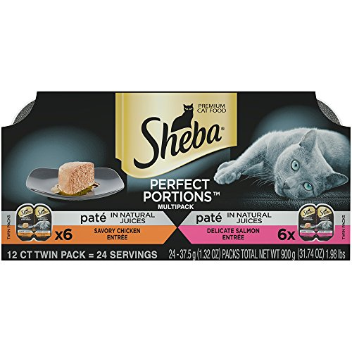 SHEBA PERFECT PORTIONS Multipack Savory Chicken and Delicate Salmon Entrée Wet Cat Food 2.6 oz. (24 Twin Packs)