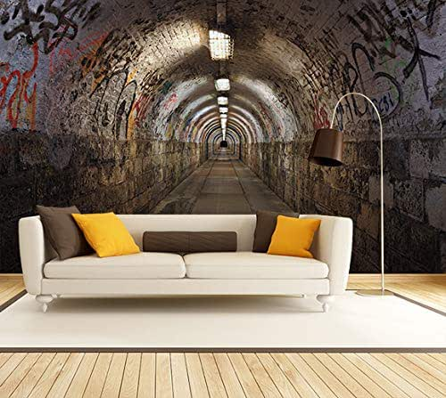 Tunnel Wallpaper Removable Self Adhesive Wallpaper Wall Mural,Vintage art,Peel and Stick Mysterious 3D Realistic style