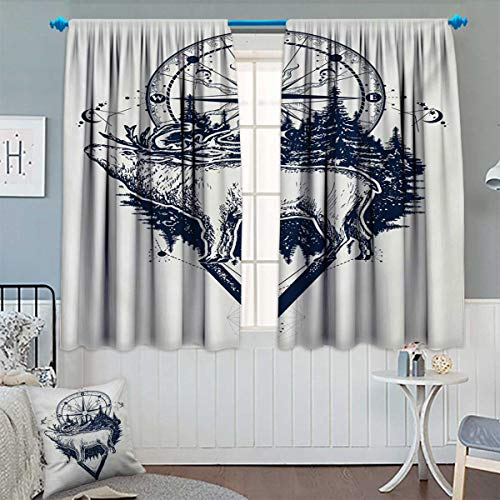Anhounine Adventure,Blackout Curtain,Reindeer and Compass Ethnic Tribal Travel Symbol Wilderness Forest Outdoors,Patterned Drape for Glass Door,Dark Blue White,W84 x L72 inch