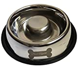 Bowl Appetit Interactive Stainless Steel Slow Feeder Dog Bowl Pet Bowl Slow Feed with Non-Slip Base Stop Bloat