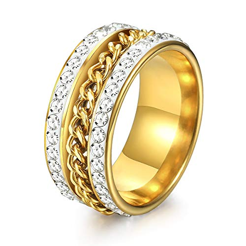 - Trendsmax Bling 10mm Mens Womens Rotatable Ring Gold Plated Iced Out Pave Rhinestones Curb Link Wedding Band Ring US sz12