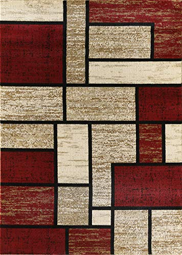 Golden Rugs Area Rug Abstract Modern Boxes Grey Black Turquoise Carpet Bedroom Living Room Contemporary Dining Accent Sevilla Collection 6614 (8x10, Dark Red) from Golden Rugs