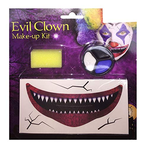 Rimi Hanger Unisex Horror Clown Make Up Set Adults Halloween Party Supplies Accessories One Size -