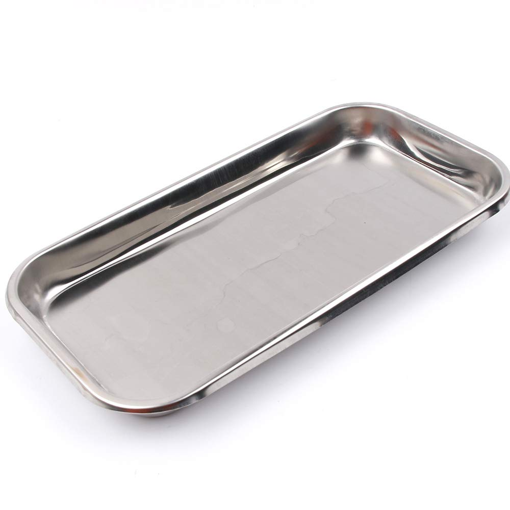 TXIN Stainless Steel Flat Tray, Medical Dental Dish Lab Tray Instruments Organizer, 8.86 x 4.72 x 0.79 inch