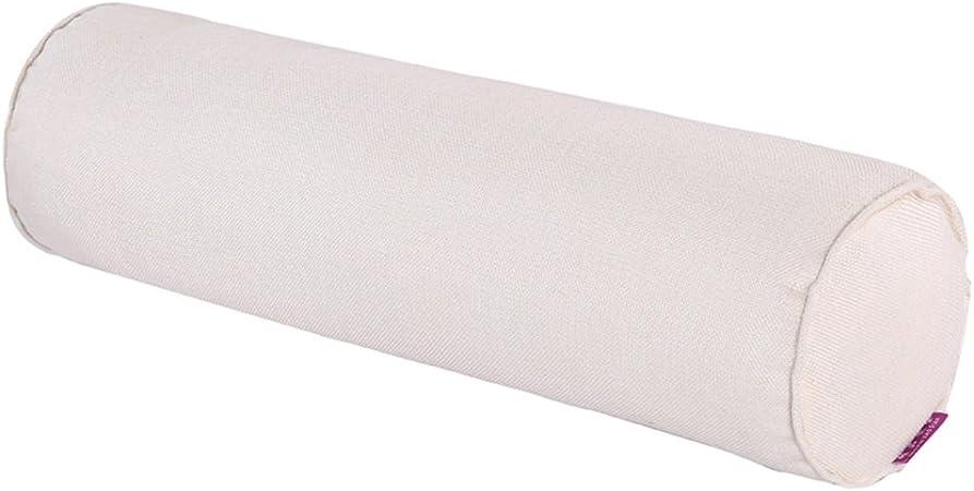Cojín alargado de KTLRR desenfundable, relleno de perlé, funda de algodón natural, cojín cervical y lumbar cilíndrico para el sofá o el coche, 15 x 40 cm, algodón, Creamy-white, 20x80cm(8