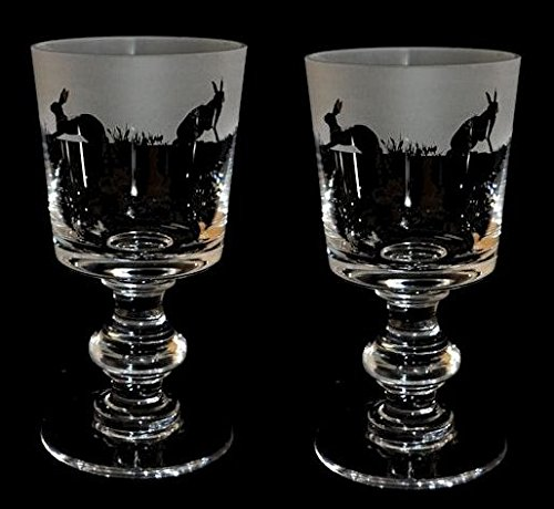 Hare Frieze - pair of Crystal Chalice wine glasses with a Hare frieze by Animo Glass