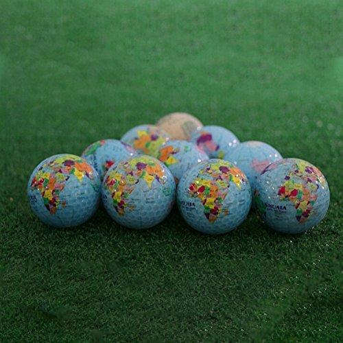 CHRISTY HARRELL 3pcs Golf Ball, World Earth Globe Golf Balls Double-Layer Construction World Map Occasion Pattern Sport…
