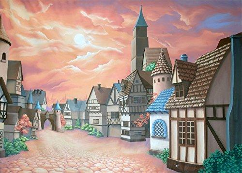 (Leowefowa 7X5FT Vinyl Photography Backdrop Castle Cartoon Dreamy Fairy Tale Village Colorful Sky Romantic Scene Background Sweet Baby Kids Children Princess Photo Studio Props)