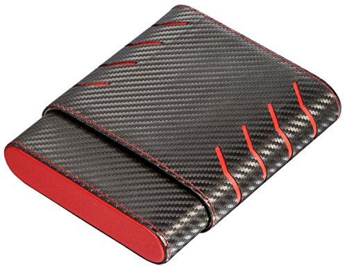 - Visol Dexter Black and Red Carbon Fiber pattern 6 Finger Cigar Case