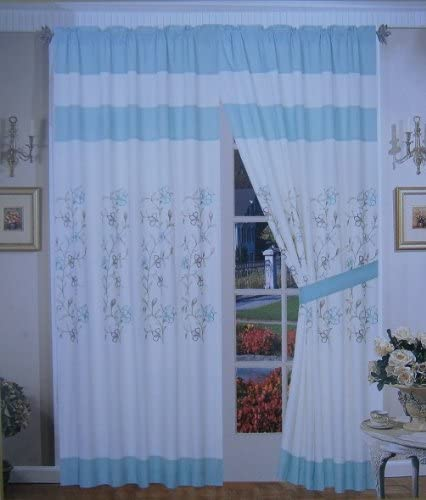 FineHome A Pair of Brushed Microfiber with Embroidery Window Curtains Drapes Panels with Sheer Lining Set 120×84 Wxh Beige Aquablue