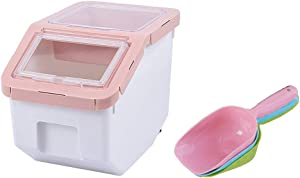 AnRui Rice Container Storage Airtight Plastic Food Holder Dispenser Cereal Grain Organizer Box Pet Dog Cat Food Bin with Locking Lid, Measuring Cup, Scoop & Wheels, 5-6kg Capacity, Pink, Small