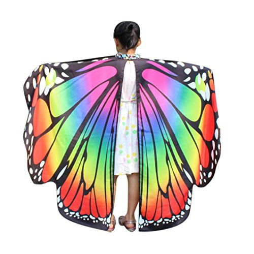 (Livoty Kid Baby Girl Butterfly Wings Shawl Scarves Nymph Pixie Poncho Costume Accessory)