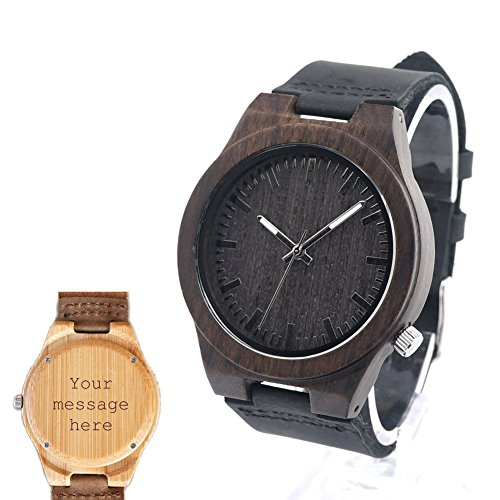 Custom Personalized Handmade Wooden Watch Made with Natural Bamboo Wood for Father's Day Gifts